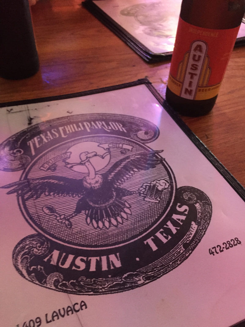 オースティンビールとお店のメニュー