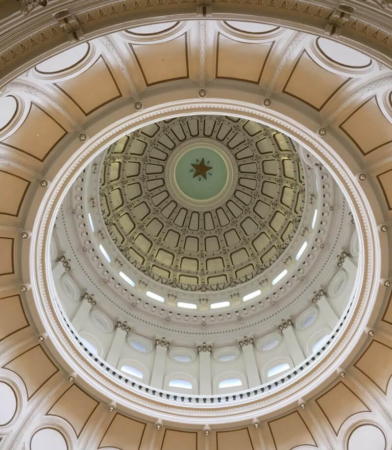 テキサス州庁舎の美しい天井