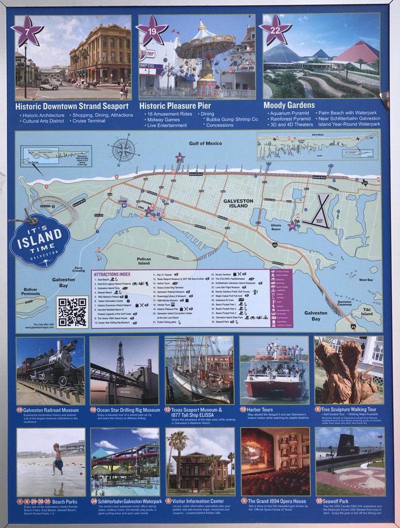 ガルベストンの観光名所マップ